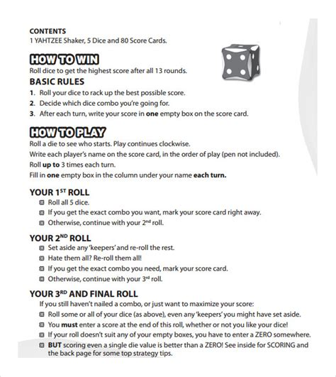 Free Printable Yahtzee Game Rules | 10 yahtzee score sheet templates free sle exle