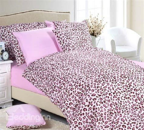 pink cheetah comforter set romantic pink leopard print cotton minimalist fitted 7