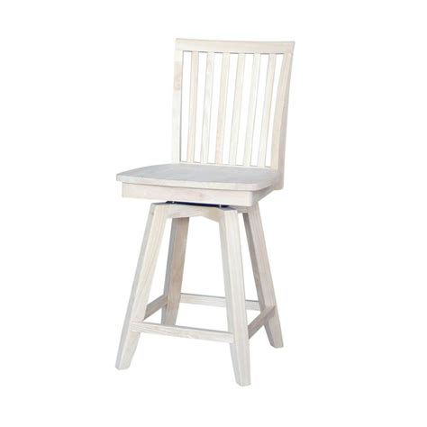 Unfinished Wood Bar Stool International Concepts Mission 24 In Unfinished Wood Swivel Bar Stool S 262sw The Home Depot