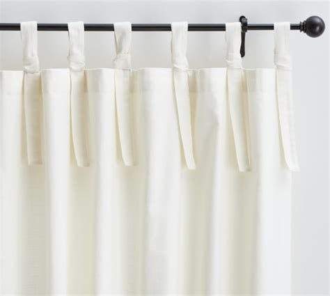 how to make tie top curtains textured cotton tie top drape pottery barn