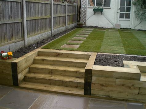 Railway Sleepers railway sleeper and gravel steps allotment railway sleepers