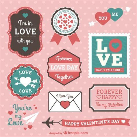 establecer etiquetas vintage con los corazones vector de etiquetas y pegatinas de san valent 237 n descargar vectores