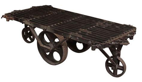 industrial cart coffee table industrial metal factory cart coffee table olde things