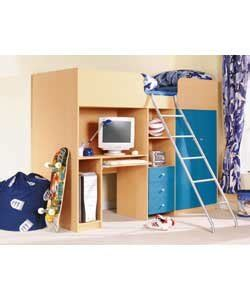 Ohio Cabin Bed by Ohio Cabin Bed High Sleeper In Beech And Blue Effect 2ft6