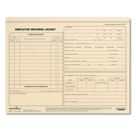 Employee Records Employee Records Jackets Letter Size Personnel Files