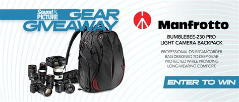 Camera Gear Giveaway - gear giveaway win a manfrotto bumblebee 230 pro light camera backpack sound picture