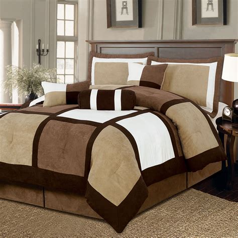 brown white bed bag 7pc comforter set cal king queen home