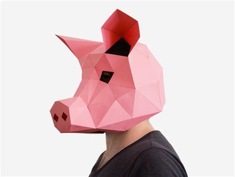 How To Make A 3d Paper Mask - pig mask diy printable animal instant pdf diy
