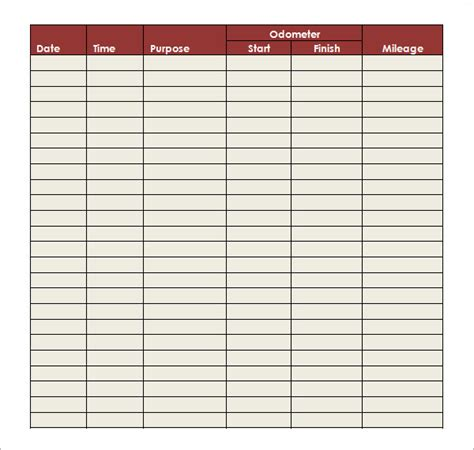 mileage log template free printable mileage log search results calendar 2015