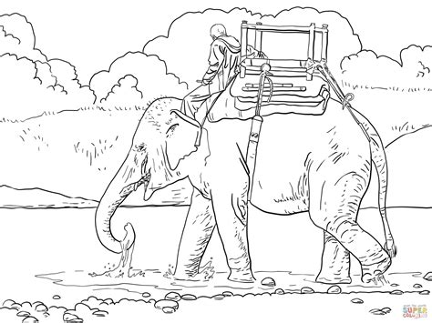 indian elephant coloring page riding indian elephant coloring page free printable