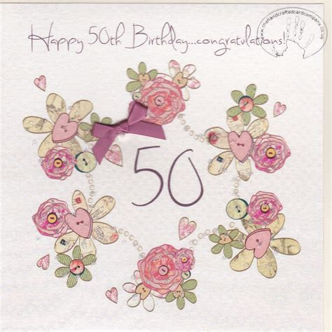 Handmade 50th Birthday Cards - handmade 50th birthday card karenza paperie