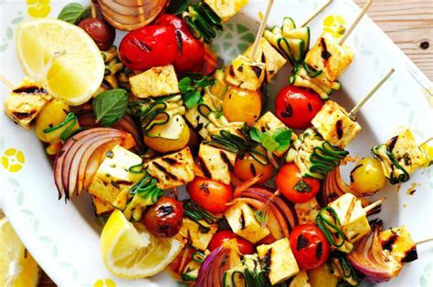 barbecue vegetables bbq haloumi and vegetable kebabs recipe taste au