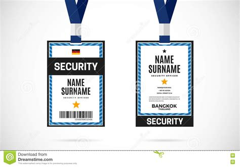 security id card template security id card set vector design illustration stock