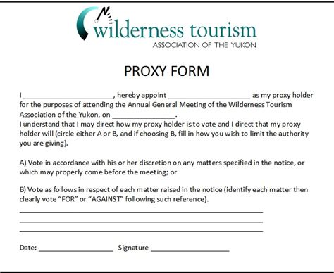 proxy forms template proxy form