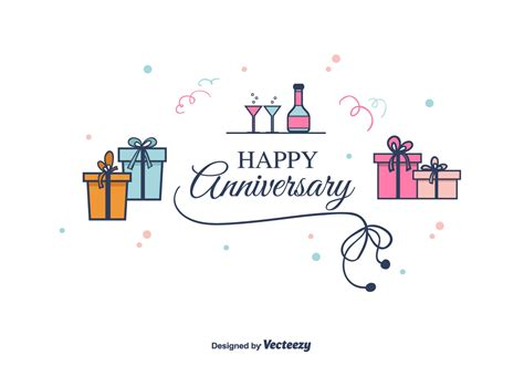 Wedding Anniversary Cards Design Vector by Anniversary Vector Background Free Vector