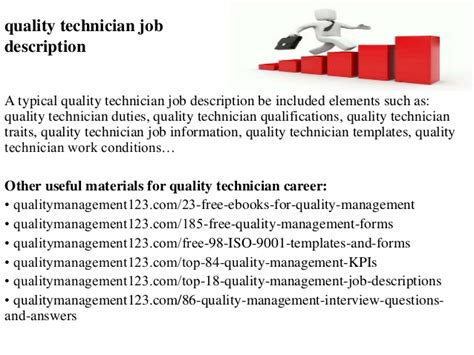 Quality Technician Description by Quality Technician Description
