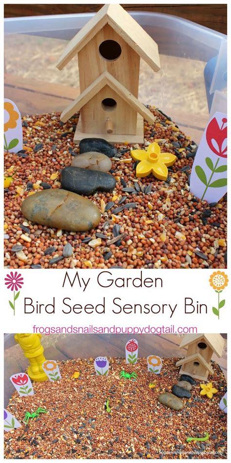 my garden bird seed sensory bin