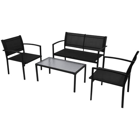 black patio bench 4pcs black garden furniture set glass table and 2 chairs 1