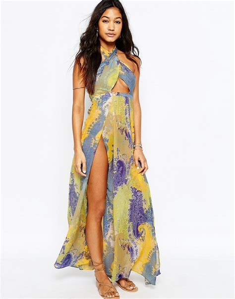 A Printed Neck Dress From Asos by Asos Scarf Print Cross Neck Split Maxi Dress Lyst