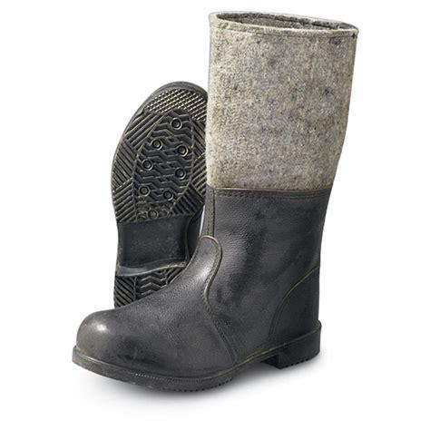 felt boots s used german mil leather felt boots black 68390