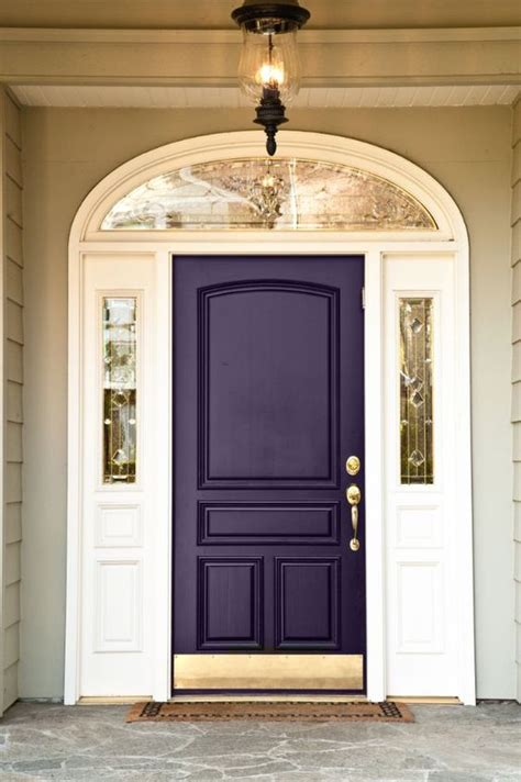 purple front door picture of dark purple front door with gilded details