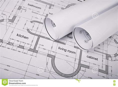 Construction Drawing Paper Construction Of The Building Plans Stock Image Image