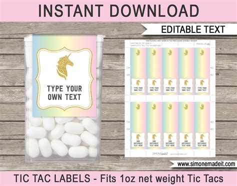 Unicorn Tic Tac Labels Unicorn Theme Birthday Party Favors Unicorn Label Template