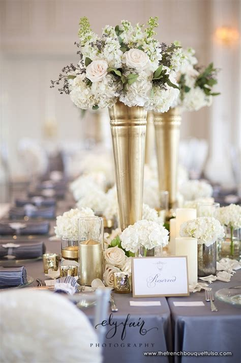 Gold Vases For Centerpieces by The Bouquet Inspiring Wedding Event