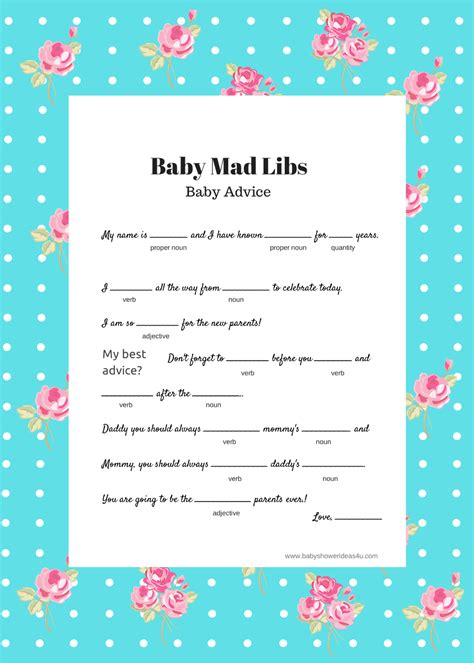 free printables baby shower games ideas free baby mad libs game baby advice baby shower ideas