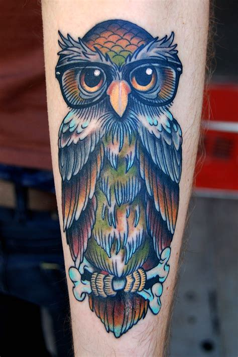 traditional owl tattoo jinxi s with neo traditional artist jim