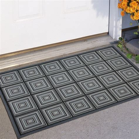 modern doormat mohawk industries perfect square blue 23 x 35 doormat