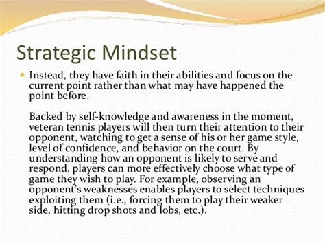 Strategic Mindset The Strategic Mindset In Tennis