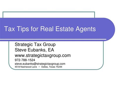 Https Fileit Tax Mba by Ppt Tax Tips For Real Estate Agents Powerpoint