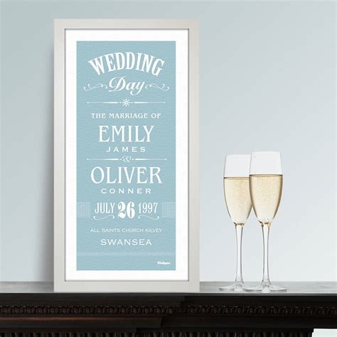 Wedding Prints by Personalised Wedding Print By Wallspice