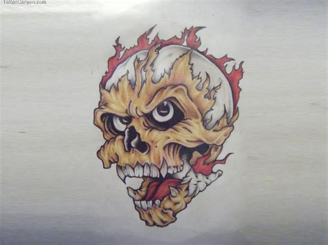 designs skull  fire tattoo wallpaper picture