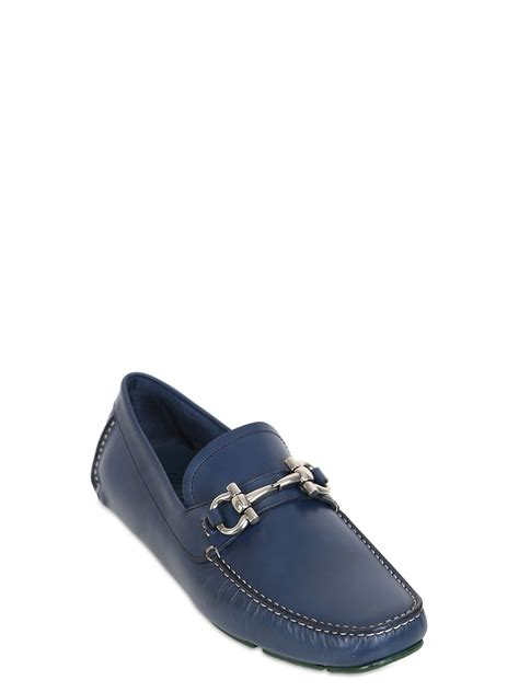 blue ferragamo loafers ferragamo parigi leather loafers in blue for lyst
