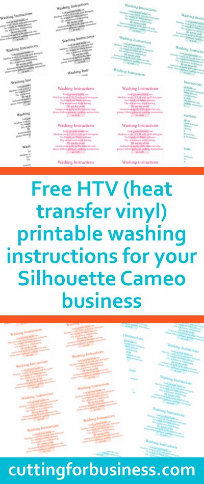 Printable Washing Instructions | free printable care cards for your silhouette or cricut
