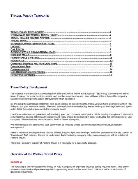 company travel policy template 8 travel and expense policy templates pdf free