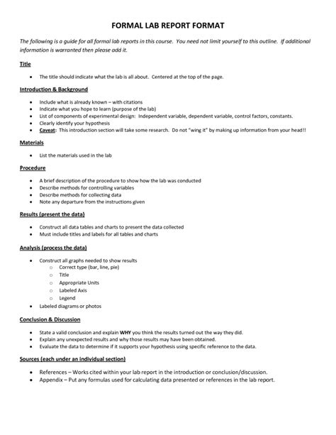 Science Report Template High School