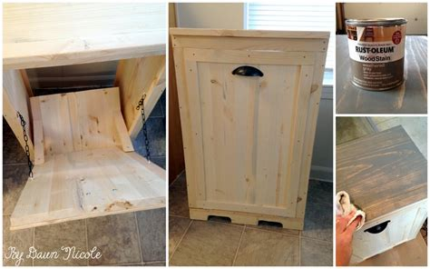 diy hidden trash can cabinet how to make wood tilt out diy trash can cabinet beesdiy