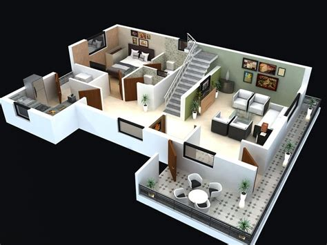 free 3d home design website floor plan for modern triplex 3 floor house click on