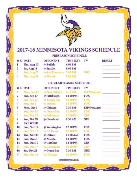 printable   minnesota vikings schedule