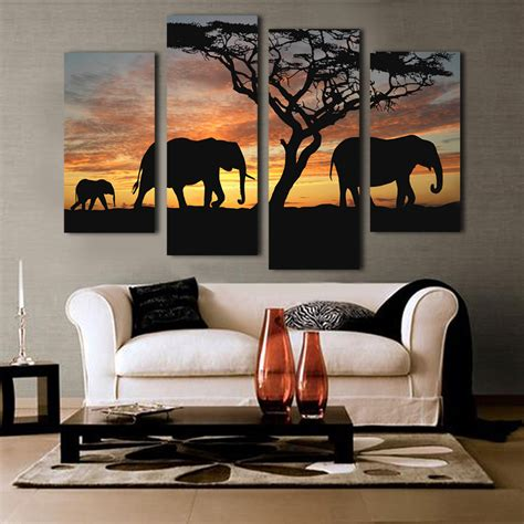 living room canvas art 5 ppcs sunset elephant painting canvas wall art picture