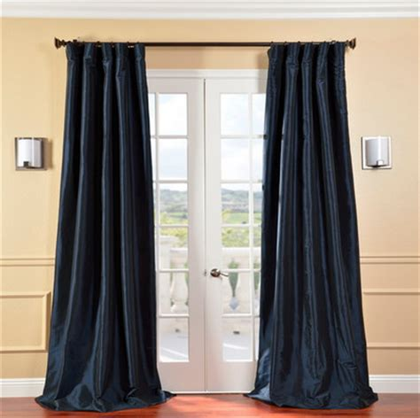 navy window curtains solid faux silk taffeta navy blue 108 inch curtain panel