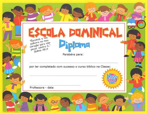 certificado de escuela biblica pequeninos de jesus diplomas para ebd e ebf