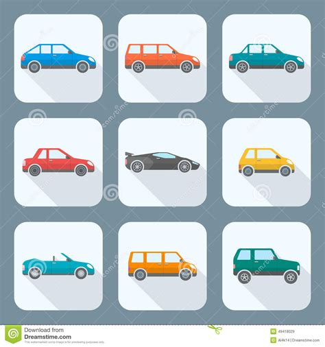 Car Types Icons by Colored Flat Style Various Types Of Cars Icons