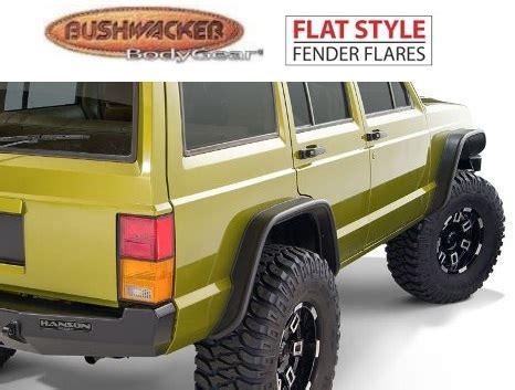 Jeep Xj Flat Fender Flares Bushwacker 10922 07 Front Rear Flat Style Fender Flares