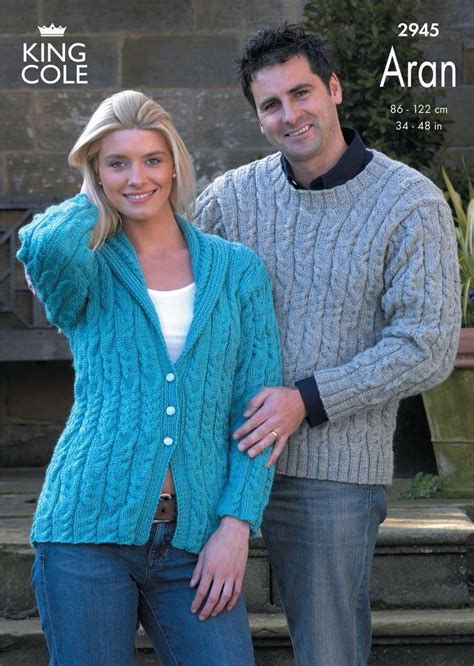 king cole aran knitting patterns king cole 2945 knitting pattern sweater and jacket knitted