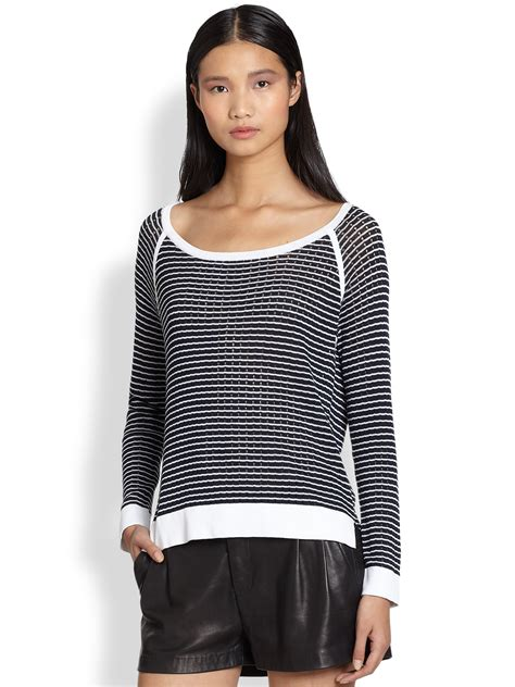 Striped Ribbed 1 2 Sleeved rag bone arianna raglansleeved ribbed striped sweater in