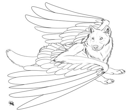 winged wolf coloring page winged wolf free lineart 2 by spiritwollf on deviantart